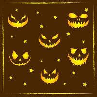 happy Halloween scary and spooky smiley faces drawing vector