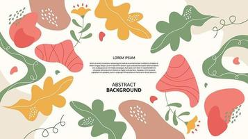 Abstract flat floral shapes background vector