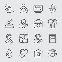 caridad y donar iconos de línea establecidos vector