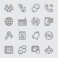 Communication line icons set. vector