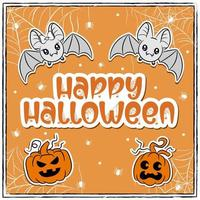 happy Halloween cute bats drawing with pumpkins and spiders vector