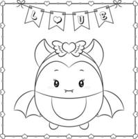Happy Valentines day cute bat drawing sketch for coloring vector