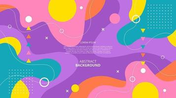 Abstract flat colorful geometric fluid shapes background vector