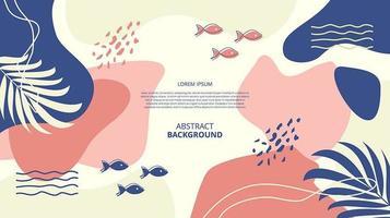 Fondo de formas de peces florales planos abstractos vector