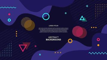 Abstract flat geometric fluid shapes dark background vector