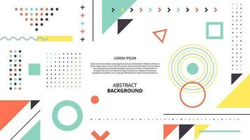 Abstract flat memphis style geometric shapes background vector