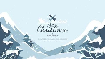 Abstract flat christmas winter landscape  background vector