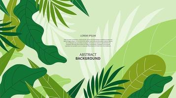 Abstract flat green floral shapes background vector