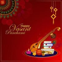Happy vasant panchami creative elements and background vector