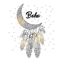Boho style of decorative arrow with feathers