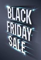 Dark banner for black Friday sale. Metallic isometric text bright billboard on black background. Concept of advertising for seasonal offer.