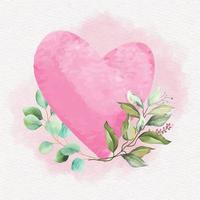 Watercolor Pink Heart with Leaves and Flowers vector