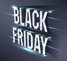 Dark banner for black Friday sale. Metallic isometric text bright billboard on black background with neon lights. Concept of advertising for seasonal offer.