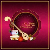 Happy vasant panchami greeting card vector