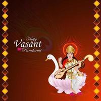 Goddess saraswati illustration and background vector