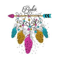 Hand Drawn boho style of decorative arrow with feathers