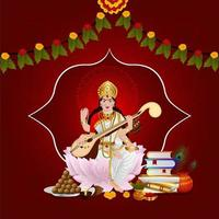 Happy vasant panchami greeting card design with creative illustration of goddess saraswati vector