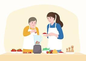 Happy senior mother and middle aged daughter adding fruits in blender. vector