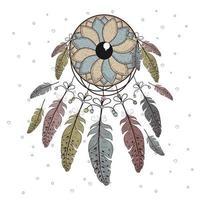 dibujado a mano estilo boho en círculo decorativo con plumas vector