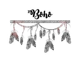 Hand drawn boho style of decorative arrow with feathers vector