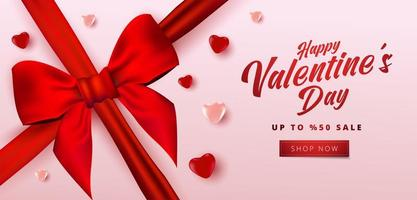 Valentine's day sale poster or banner with many sweet hearts and realistic bow on soft pink color background. Promotion and shopping template or for love and valentine's day.