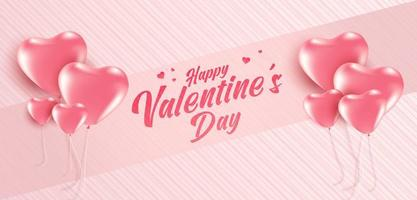 Valentine's day sale poster or banner with many sweet on soft pink color background. Promotion and shopping template for love and valentine's day.
