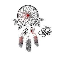 estilo boho dibujado a mano en un hermoso fondo de círculo decorativo con plumas vector