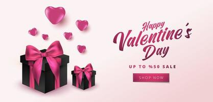 Valentine's Day Sale 50 off Poster or banner with hearts and realistic gift box on soft pink background. Shopping and promotion template for Valentine's day concept design.