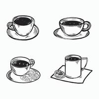 Set of cups coffee illustration vector