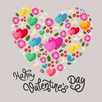 happy valentine's day heart made of flowers and hearts vector
