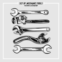 Set of mechanic tools illustration vector