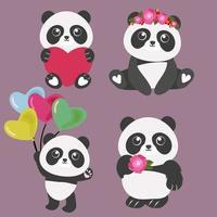 conjunto de dibujos animados lindo panda de san valentín vector
