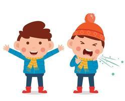 niño pequeño usa chaqueta en temporada de invierno. niño sonriendo y sintiéndose enfermo vector