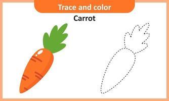 trazar y colorear zanahoria vector