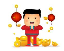 Chinese New Year. Cute little kid. vector
