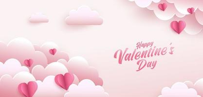Happy Valentine's Day greeting card design. Holiday banner with paper art style heart shapes. Paper art and digital craft style illustration vector