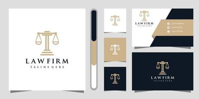 Law firm logo design and business card vector