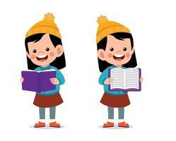 Happy cute little kid reading book wearing warm clothes. Kid jacket in winter season vector
