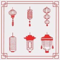 Set of chinese lantern illustrations vector