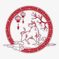 ilustración de buey de año nuevo chino vector