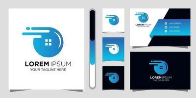 diseño de logotipo inmobiliario y tarjeta de visita. vector