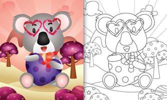 libro para colorear para niños con un lindo koala abrazando corazón para el día de san valentín vector