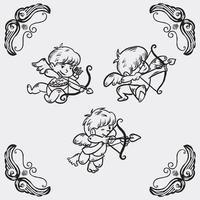 Set of cute cupids illustration vector