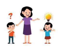 Teacher helps teach kids. Cute kid characters in school vector