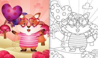 libro para colorear para niños con un lindo zorro sosteniendo un globo para el día de san valentín vector