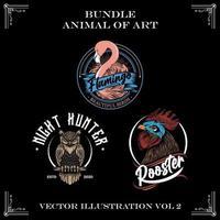 Set of animal art illustrations vector