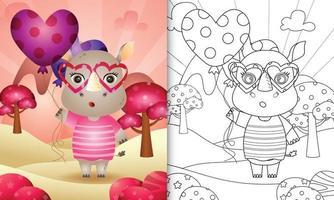 libro para colorear para niños con un lindo rinoceronte sosteniendo un globo para el día de san valentín vector