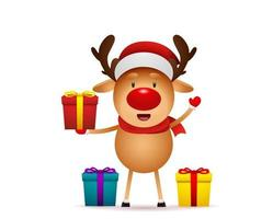 Christmas and Happy New Year. Reindeer with gift box vector