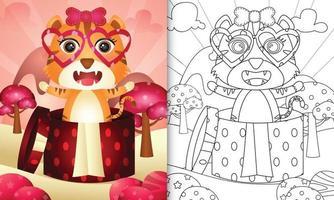 libro para colorear para niños con un lindo tigre en la caja de regalo para el día de san valentín