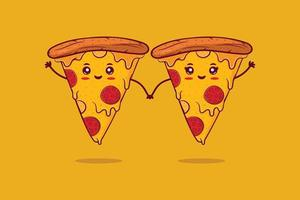 Cute happy smiling pizza couple. vector